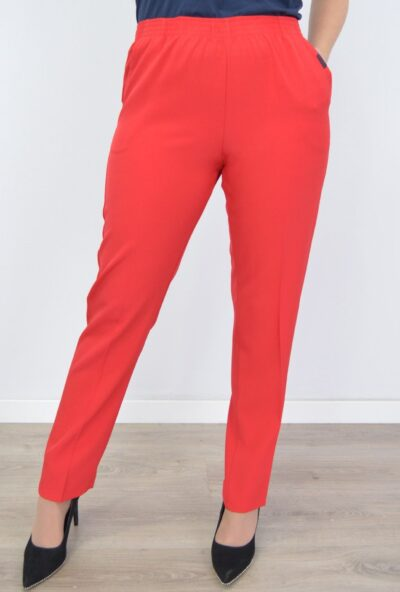 pantalones tallas grandes de mujer,pantalones rojos de mujer,pantalones de verano mujer, pantalón rojo,pantalón para crucero,Pantalón Mujer Cintura Elástica