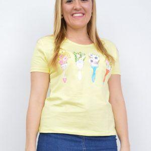 Camiseta Algodón Brochas Amarilo