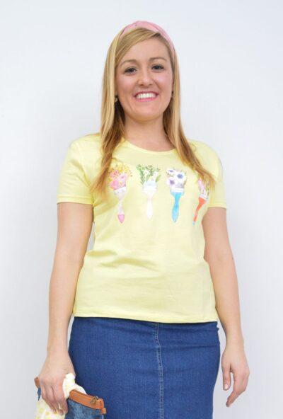 camisetas de moda mujer,camisetas tallas grandes de mujer,básicas de algodón mujer,camisetas manga corta,Camiseta Algodón Brochas Amarilo