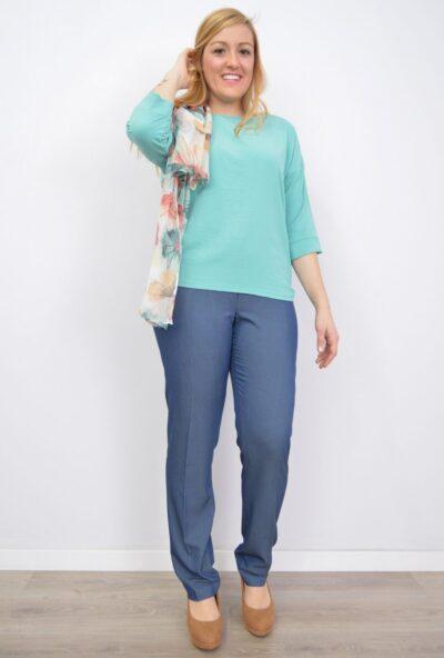 pantalones de verano mujer,ropa mujer tallas grandes,moda tallas grandes para mujer,Pantalón Tencel Cintura con Gomitas en los Costados