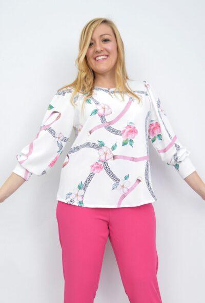 venta-de-ropa-mujer-online,ropa-mujer-tallas-grandes,blusas-económicas-tallas-grandes,Blusa Estampada Cadenas Floreada