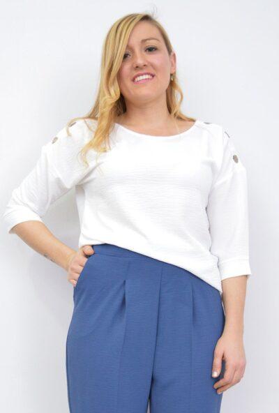 ropa-mujer-tallas-grandes,,blusas-tallas-grandes,camisetas -básicas-mujer,Blusa Básica Mujer Botones