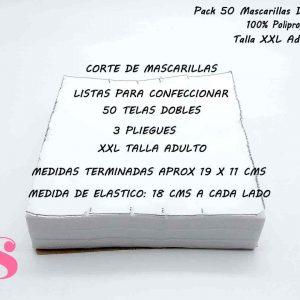 Pack 50 Mascarillas Dobles ADULTO (no incluye  elástico)