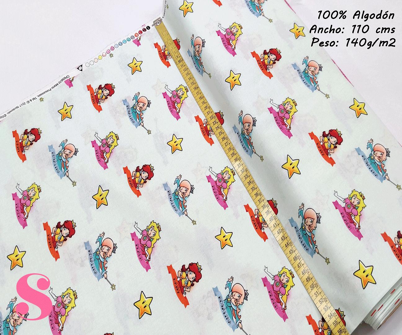super-mario-princess,estampado-americano-vintage,estampada-algodon,telas-para-niños-estampadas,tnt,algodon,Tejido Estampado Super Mario Princess