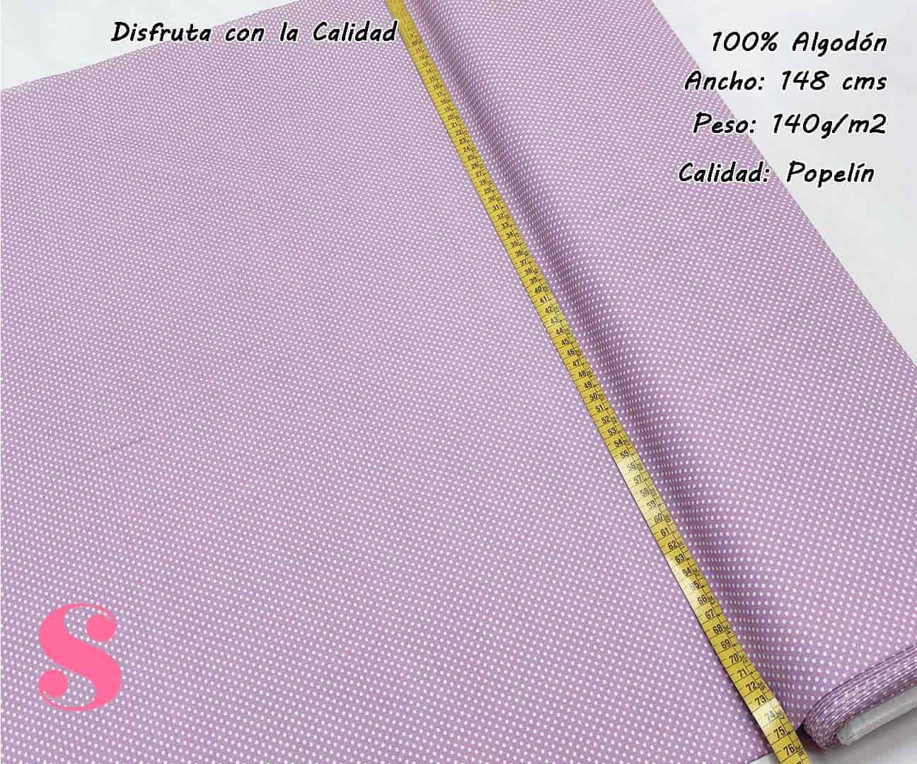 topos-algodon-estampado-naturales-geometricas-modernas-patchwork-para-vestidos-liberty,Tejido Algodón Estampado Topos Blancos Fondo Malva