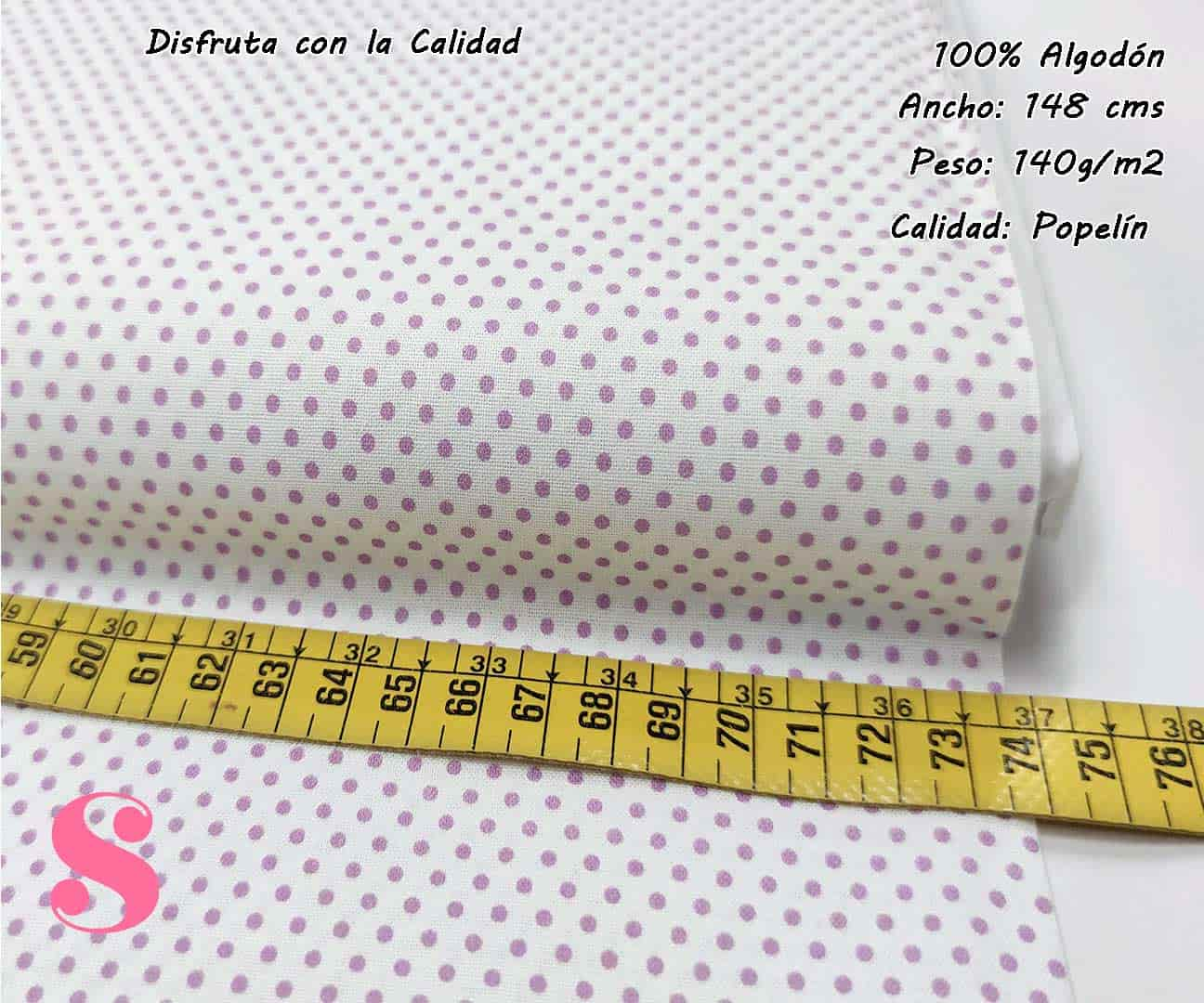 topos-algodon-estampado-naturales-geometricas-modernas-patchwork-para-vestidos-liberty,Tejido Algodón Estampado Topos Malva Fondo Blanco