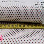 topos-algodon-estampado-naturales-geometricas-modernas-patchwork-para-vestidos-liberty,Tejido Algodón Estampado Topos Rojo Fondo Blanco