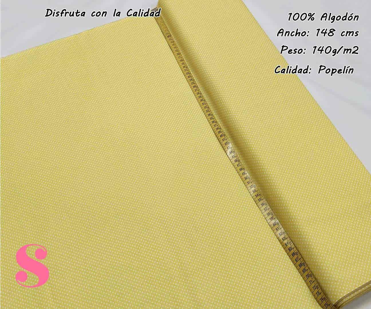 topos-algodon-estampado-naturales-geometricas-modernas-patchwork-para-vestidos-liberty,Tejido Algodón Estampado Topos Blanco Fondo Amarillo