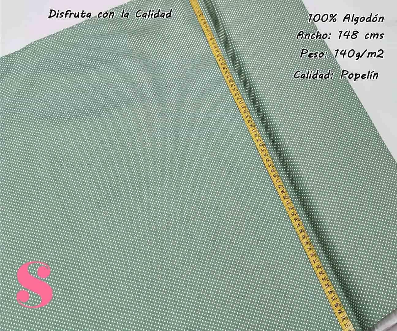 topos-algodon-estampado-naturales-geometricas-modernas-patchwork-para-vestidos-liberty,Tejido Algodón Estampado Topos Blanco Fondo Verde