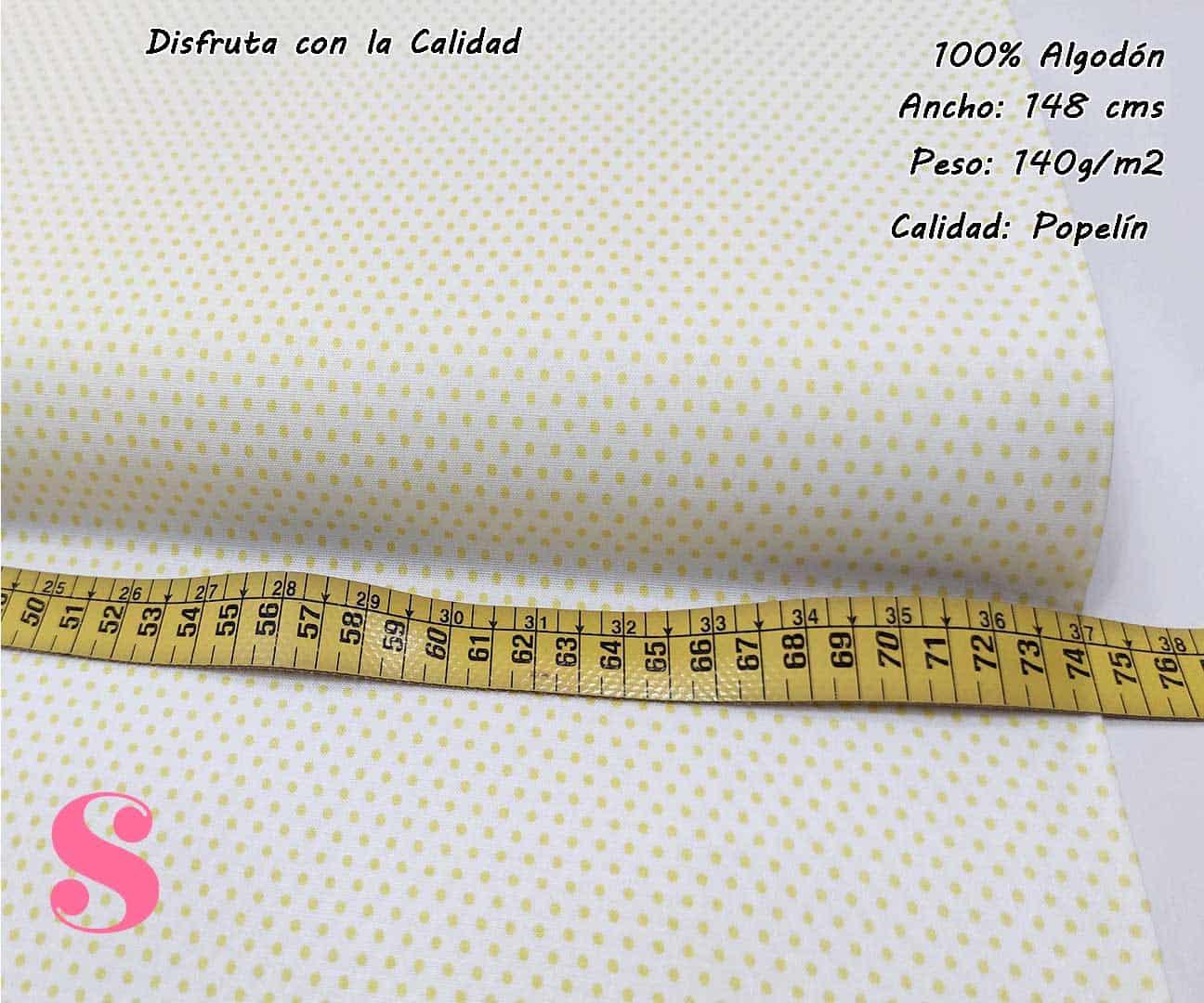 topos-algodon-estampado-naturales-geometricas-modernas-patchwork-para-vestidos-liberty,Tejido Algodón Estampado Topos Amarillo Fondo Blanco