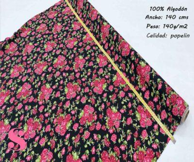 139-flores-rosas-tejidos-estampado-popelin,Popelín Estampado Rosas Rojas