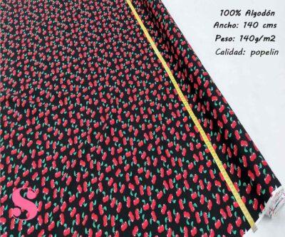 140-cerezas-fondo-negro-tejidos-estampado-popelin,Popelín Estampado Cerezas