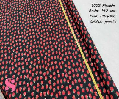141-fresas-fondo-negro-tejidos-estampado-popelin,Popelín Estampado Fresas