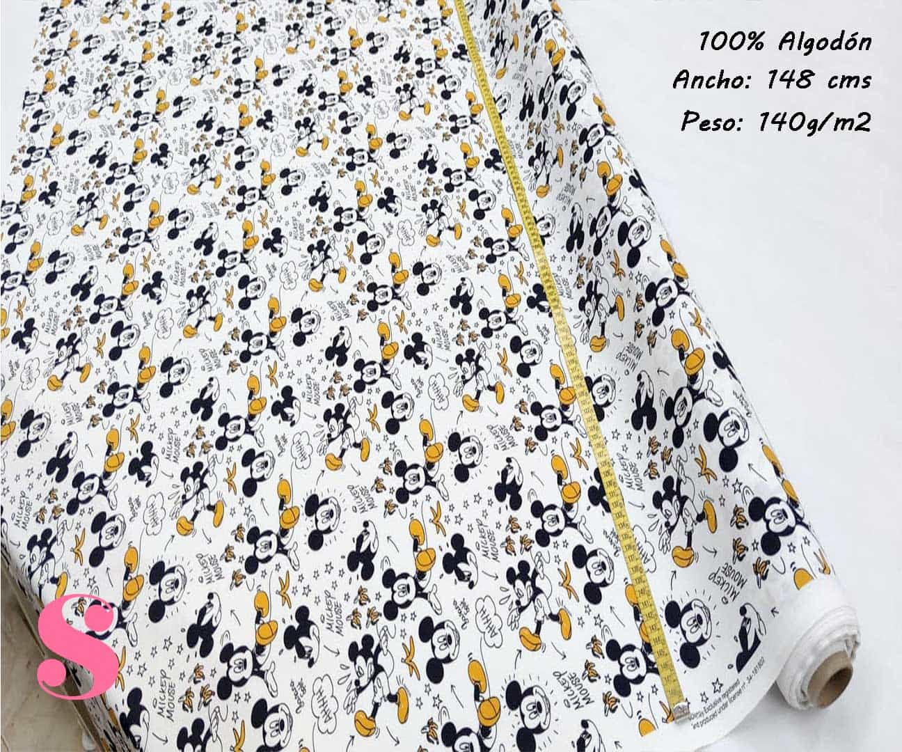 151-mickey-mouse-disney-tejidos-estampado-popelin,Tejido Estampado Disney Mickey Mouse Banana
