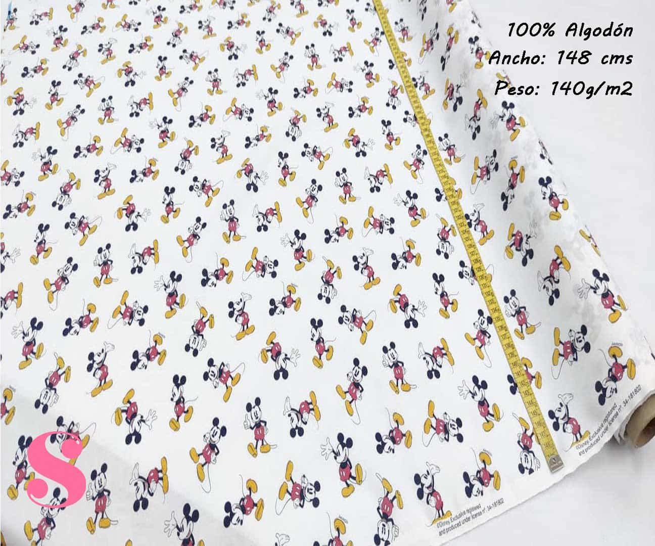 152-mickey-mouse-disney-tejidos-estampado-popelin,Tejido Estampado Disney Mickey Mouse