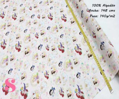158-princesas-disney-tejidos-estampado-popelin,Tejido Estampado Disney Pequeñas Princesas