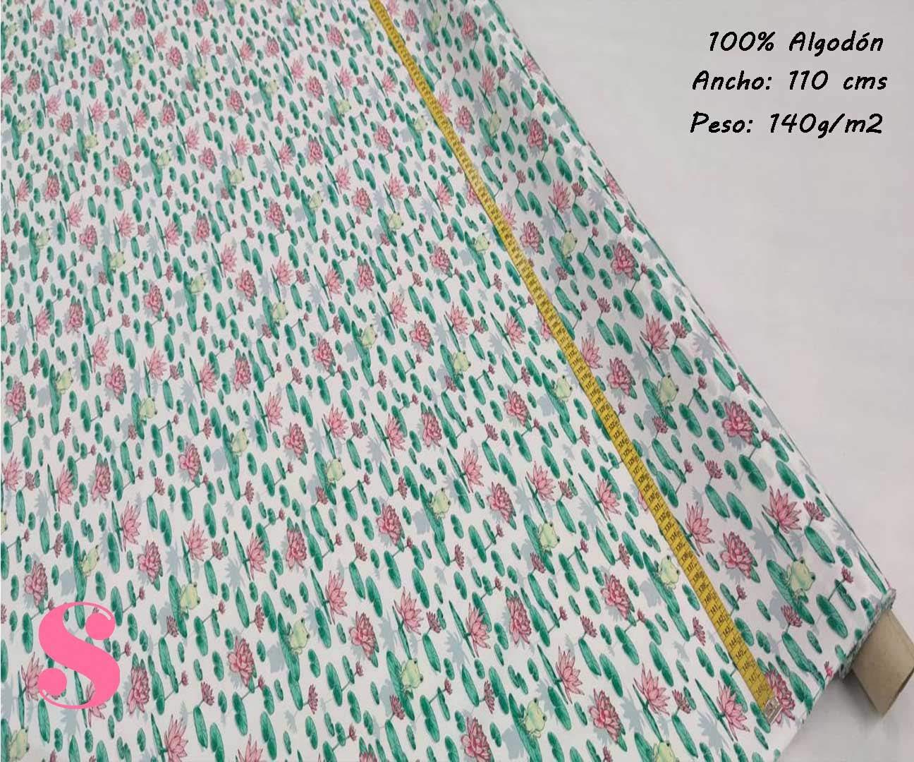 162-flor-rana-disney-tejidos-estampado-popelin,Tejido Estampado Flor de Loto