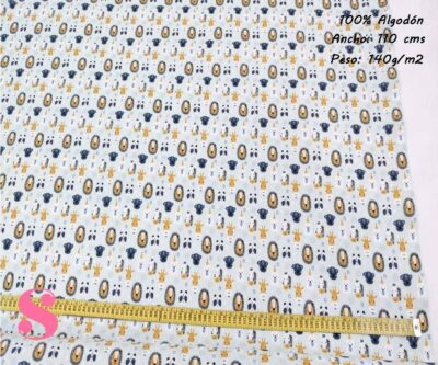 163-ositos-infantil-disney-tejidos-estampado-popelin,Tejido Estampado Patch Animalitos