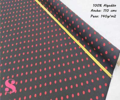 171-lunares-rojos-falmenca-sevillanas-tejidos-estampado-strech,Tejido Estampado Flamenca Lunar Rojo Fondo Negro