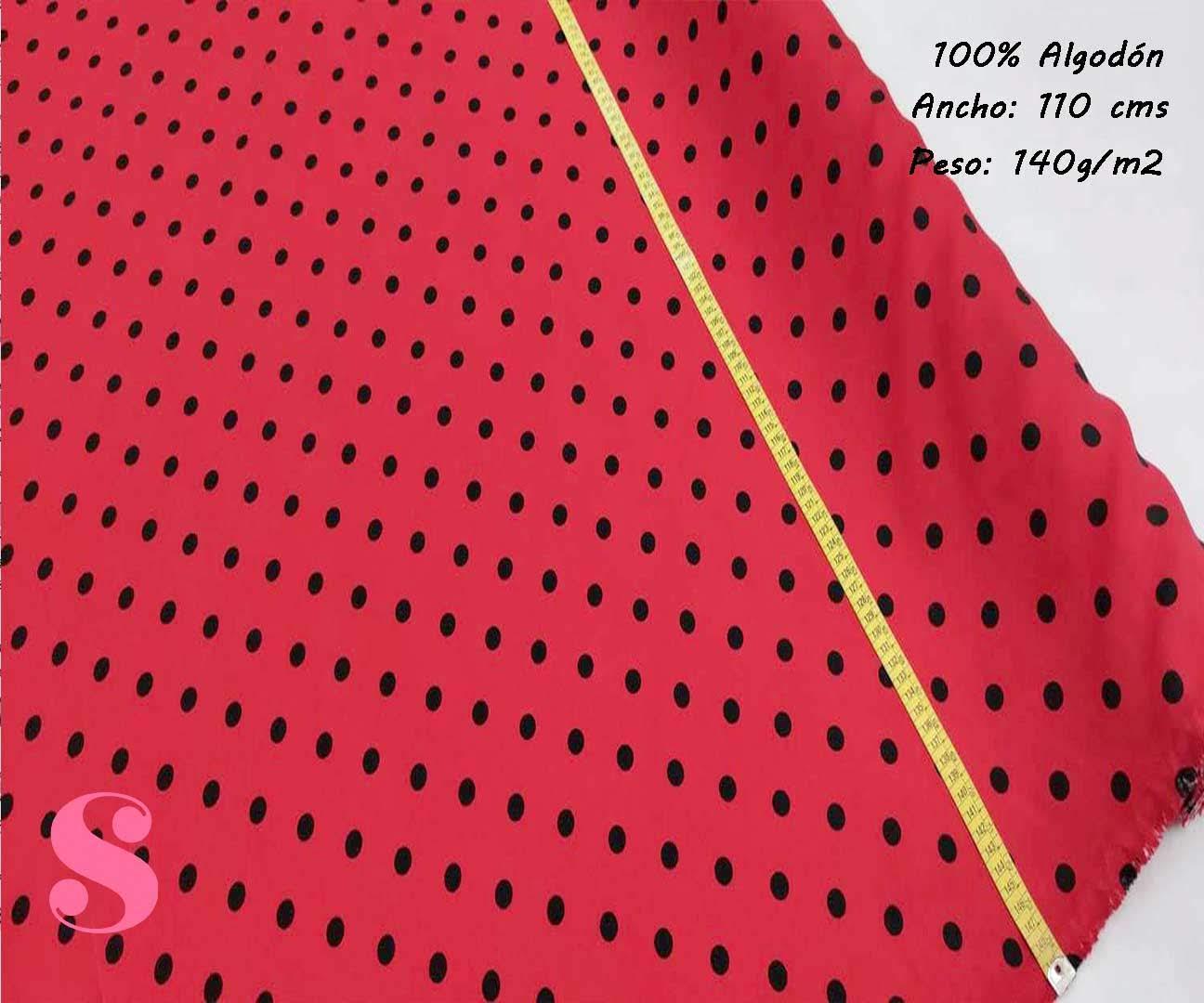 173-lunares-negros-flamenca-sevillanas-tejidos-estampado-strech,Tejido Estampado Flamenca Lunar Negro Fondo Rojo