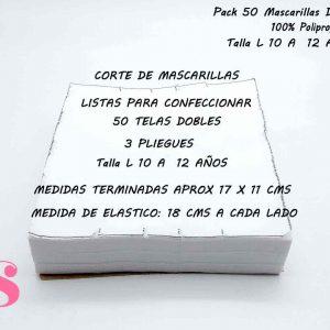 Pack 50 Mascarillas Dobles Talla L de 10 a 12 años (no incluye elástico)