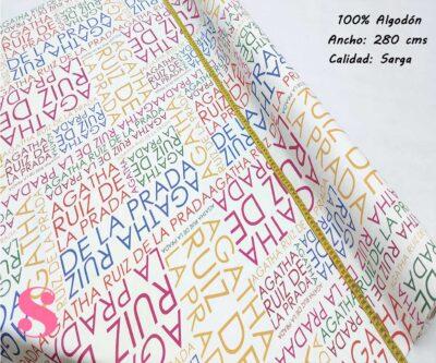 252-letras-colores-Tejidos-estampados-orginales-Agatha-Ruiz-de-La-Prada,Sarga Agatha Ruiz de la Prada Letras