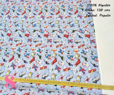 260-aviones-cielo-tejidos-algodón-estampado-popelin,Tejido Estampado Aviones Infantiles