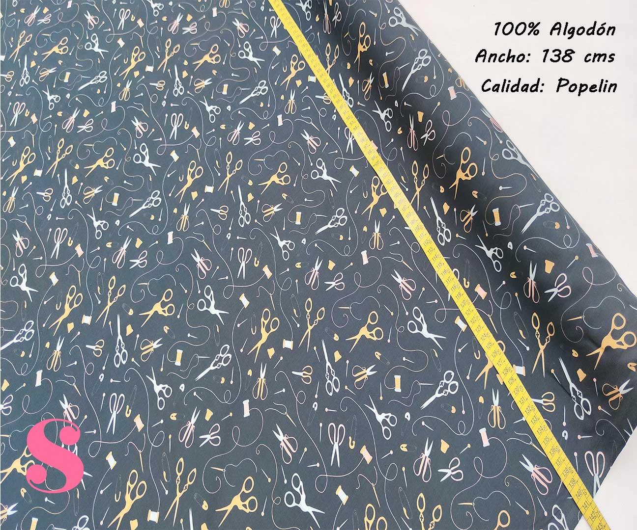 262-motivos-costura-negro-tejidos-algodón-estampado-popelin,Tejido Estampado Tijeras y Costura
