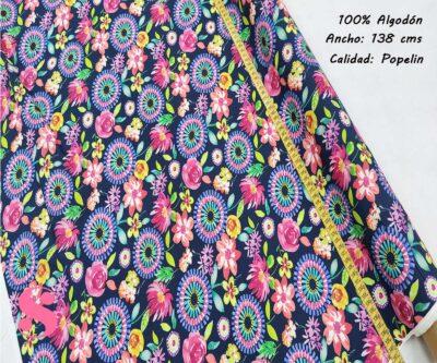 264-mandalas-flores-tejidos-algodón-estampado-popelin,Tejido Estampado Mandalas y Flores