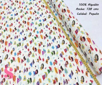 268-miniheroes-infantiles-tejidos-algodón-estampado-popelin,Tejido Estampado Minihéroes Infantiles