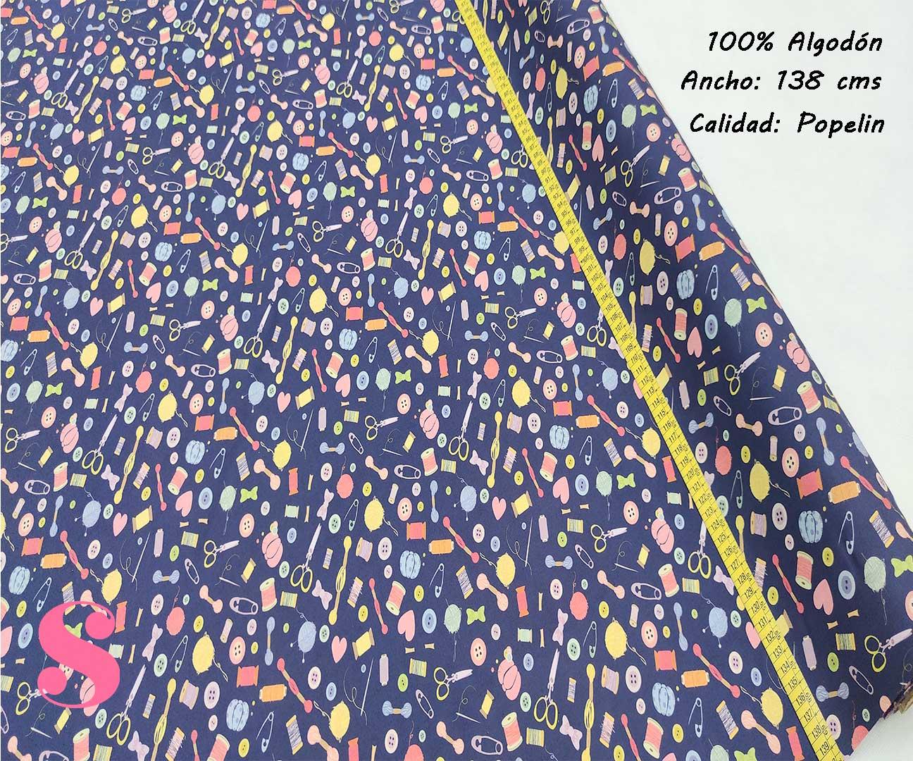 269-motivos-costura-marino-tejidos-algodón-estampado-popelin,Tejido Estampado Costura Azul