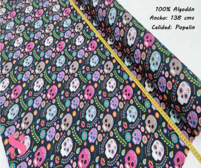 272-catrinas-colorines-negro-tejidos-algodón-estampado-popelin,Tejido Estampado Catrinas Colorines