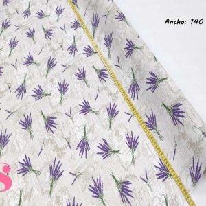 308 Mantel Flores de Lavanda Resinado Antimanchas