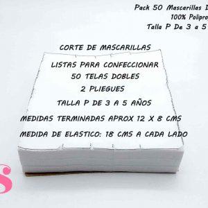Pack 50 Mascarillas Dobles Talla P de 3 a 5 años (no incluye elástico)