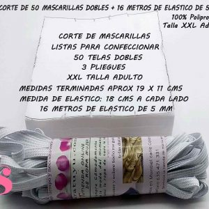 KIT 50 Mascarillas Dobles + 16 Metros de Elástico ADULTO