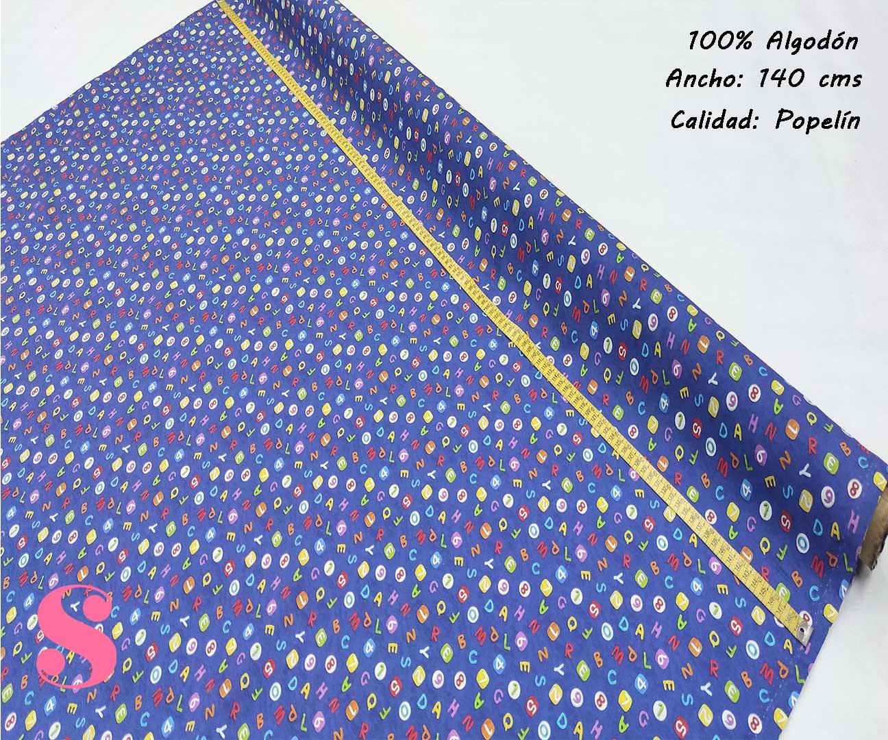 307-letras-abecedario-niños-tejidos-algodón-estampado-popelin,Popelín Estampado Abecedario y Números Azul