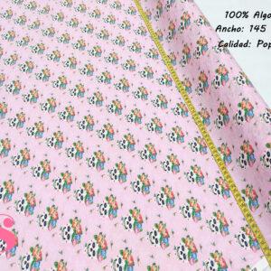 347 Popelín Estampado Catrinas Flores Fondo Rosa