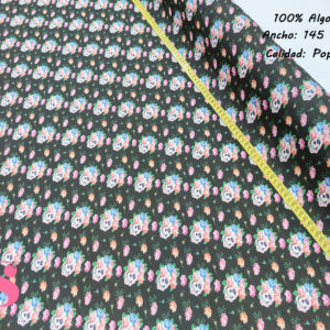 348 Popelín Estampado Catrinas Flores Fondo Negro