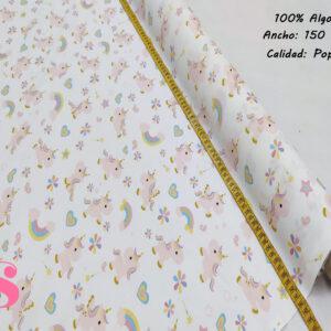377 Popelín Estampado Bebés Unicornios
