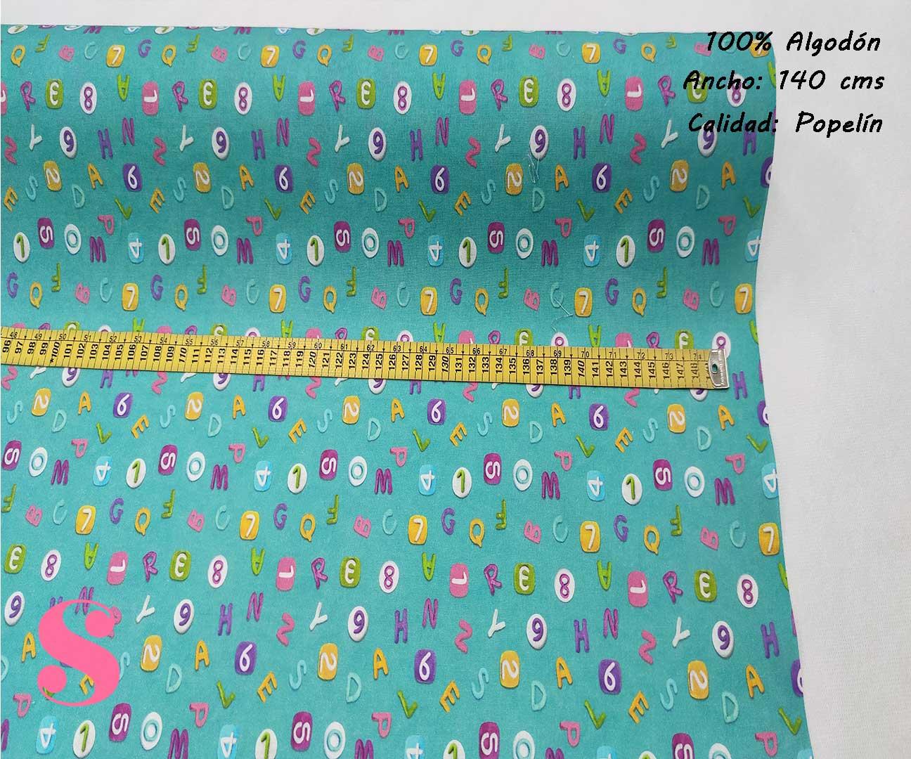 308-letras-abecedario-niños-tejidos-algodón-estampado-popelin,Popelín Estampado Abecedario y Números Turquesa