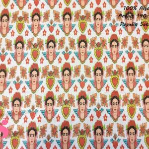 382 Popelín Estampado Satinado Frida Corazones