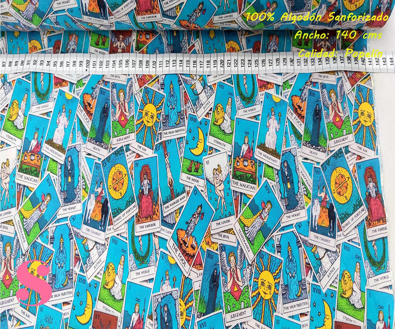 430-cartas-tarot-tejidos-estampado-popelin-sanforizado,Tejido Algodón Estampado Cartas Tarot