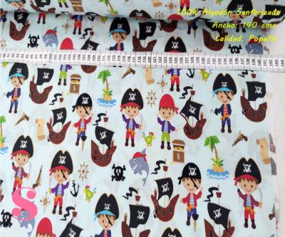 431-niños-piratas-tejidos-estampado-popelin-sanforizado,Tejido Algodón Estampado Niños Piratas