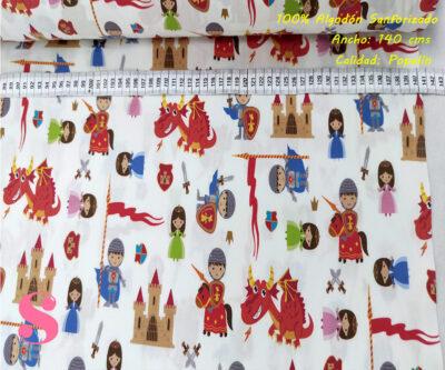 432-niños-medieval-tejidos-estampado-popelin-sanforizado,Tejido Algodón Estampado Niños Medieval