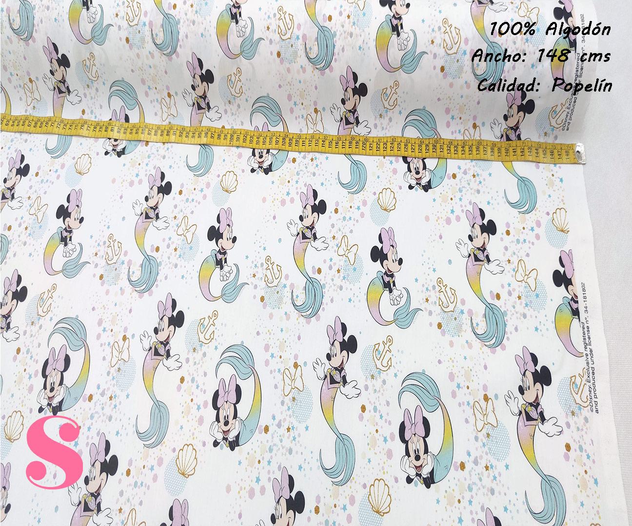 411-minnie-mouse-sirena-disney-tejidos-estampados-popelin,telas infantiles,telas disney,Popelín Estampado Minnie Sirena