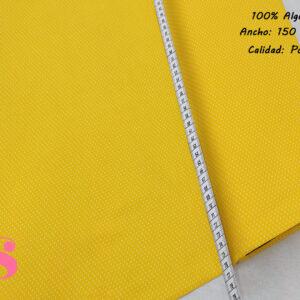 Tejido Algodón Estampado Topos Blanco Fondo Amarillo