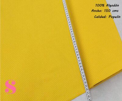 Tejido Algodón Estampado Topos Blanco Fondo Amarillo,topitos-fondo-amarillo-tejidos-algodón-estampado-popelin