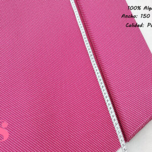 Tejido Algodón Estampado Topos Blanco Fondo Rosa Fresa
