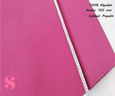Tejido Algodón Estampado Topos Blanco Fondo Rosa Fresa,topitos-fondo-fucsia-tejidos-algodón-estampado-popelin