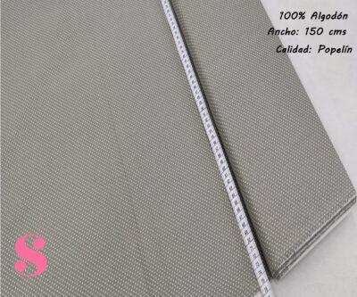 Tejido Algodón Estampado Topos Blanco Fondo Gris,topitos-fondo-gris-tejidos-algodón-estampado-popelin
